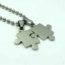 316L STAINLESS STEEL Lover Puzzle PENDANT Leather Cord or BALL Chain NECKLACE
