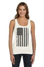 Big Black American Flag - Vintage Distressed USA Flag Women Tank Top Cool