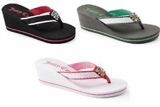 JUICY COUTURE Rhinestone Wedge Sandals Flip Flops (CHOOSE SIZE & COLOR) MSRP $28