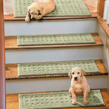 """SET OF 4 29"""" BASKETWEAVE WASHABLE INDOOR STAIR TREADS Carpet CHOICE 10 COLORS"""