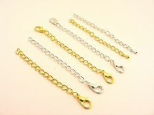 5 x NECKLACE Curb CHAIN EXTENDER Extension with TEARDROP End or Lobster CLASP