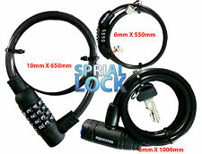 BICYCLE CYCLE BIKE HELMET SAFETY COMBINATION CABLE LOCK SPIRAL STEEL CABLE