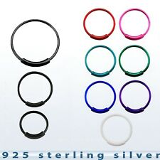 "1pc. 22g~1/4"", 5/16"", 3/8""  Plated .925 Sterling Silver Endless Nose Hoop Ring"