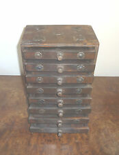 VINTAGE SMALL HABADASHERY STYLE CHEST OF 9 DRAWERS, GOTHIC STYLE, ANTIQUE