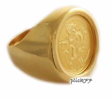 24k Gold Plated Coin Ring 1/10th oz Gold Dragon Coin Included