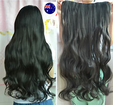 Women Lady Party Costume 6 Clip on one piece Wavy Long Natural Hair extension