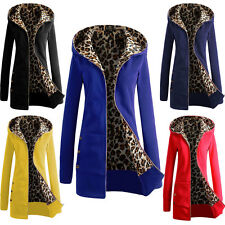Women Casual Hoody Sweater Coat Sexy Leopard Lining Jacket Zipper Hooded Outwear