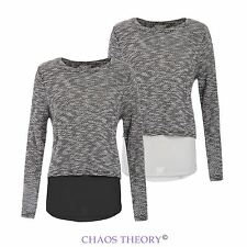 Ladies Womens New Layered Double Breasted Back Knit Chiffon Jumper Pullover