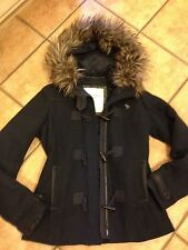 ABERCROMBIE & FITCH JORDAN PEA COAT WOOL NAVY BLUE M HOODED FAUX FUR TOGGLES