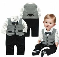 Baby Boy Wedding Christening Tuxedo Suit Bowtie Bodysuit Outfit 0-12M NEWBORN
