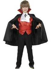 New Dracula Boy Child Vampire Costume + Cape Ages 7- 12 Halloween Horror Costume