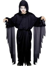 New Long Black Screamer Ghost Robe Ghoul Scream Halloween Costume Child Age 4-12