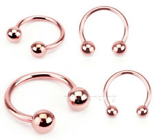 1pc.16g,14g Rose Gold IP Horseshoe Circular Barbell Labret Ears Cartilage Septum