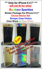 "iPhone 6 4.7"" Rainbow Sparkles Skin sticker Package, Bumper + Protector"