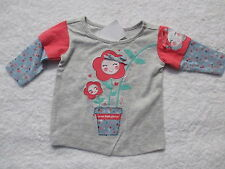 BABY GIRLS L/S T SHIRT TOP PRETTY LITTLE HAPPY FACE LOWERS  SIZE 000 & 00