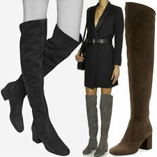 US5-10.5 Womens Faux Suede Round Toe Thigh High Over the Knee Boots Shoes
