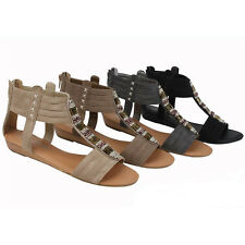 Womens Roman Gladiator Flats Sandals Fashion Beads Ankle Back Zipper Shoes Sizes