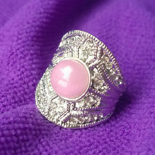 18K White Gold Plated Pink Crystal Ring Elegant Jewelry CZ Rhinestone Engagement