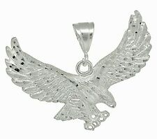 Sterling Silver .925 Flying Eagle Pendant Necklace Charm Made In USA