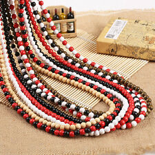 "New Plain Wood Beads Necklace 28"" Long Hip-Hop Long Rosary Beaded Necklace Chain"