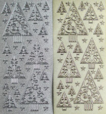 PEARL GLITTER CHRISTMAS TREES PEEL OFF STICKERS GOLD OR SILVER CARDMAKING