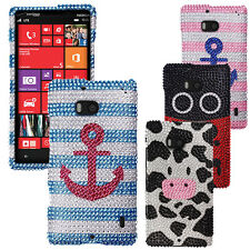 For Nokia Lumia 929 Icon Skin Bling Crystal Gem Hard Protector Case Cover Phone