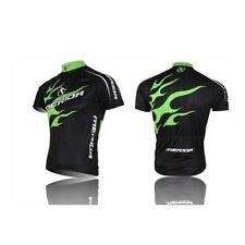 Green Fire Men Sportwear Jerseys Jacket Top Short Sleeve Cycling Biking Jerseys