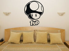 Mushroom 1up Mario Game Gaming Wii Nintendo Bedroom Decal Wall Sticker Picture