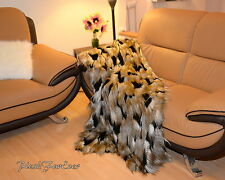 """Exotic Gold Feathers 60"""" 72"""" 84"""" Faux Fur Throw Comforter Black White Ostrich"""