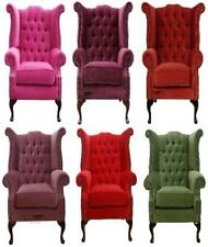 Chesterfield Queen Anne High Back Wing Chair Sage/Copper/Damson/Pink/Plum/Red