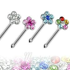 1PC of color of Flower Multi-Gem Paved Top 316L Surgical Steel Nose Bone