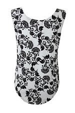 Women's Black And White Floral Vintage Retro Dropped Armhole Vest Tank Top Tee