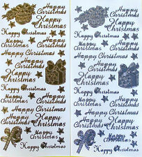 HAPPY CHRISTMAS STYLE 2 PEEL OFF STICKERS GOLD OR SILVER CARDMAKING