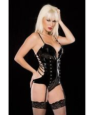 NOIR VINYL ZIPPER FRONT TEDDY WITH STRAPPY BACK G-STRING