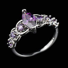 CZ Rings Purple Crystal Zircon Tip Gems Lady's 18Kt White Gold Filled Size 6-10
