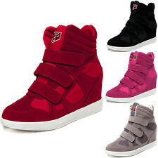 Womens Hidden Heel High Top Platform Sneakers Wedge Trainers Ankle Boots Shoes