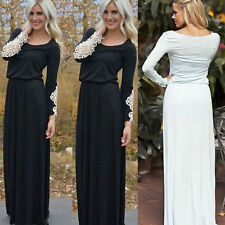 Womens Long Sleeve Prom Bodycon Party Evening Cocktail Casual Maxi Dress Lace