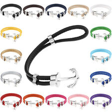 NEW DIY Infinity Anchor Anchors PU Leather Cute Charm Bracelet For Women