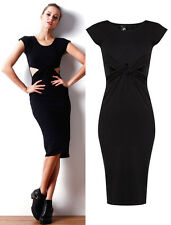 Womens Madi Slim Cotton Black Dresses Ladies Casual Party School Fashion Dress