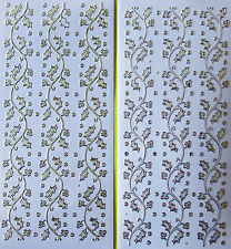 PEARL GLITTER SPARKLE HOLLY BORDERS PEEL OFF STICKERS Gold  & Gold Edged Silver