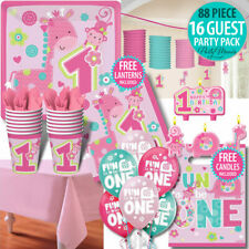 BOY OR GIRL 1ST FIRST BIRTHDAY PARTY SUPPLIES JUNGLE ANIMAL 16 GUEST PARTY PACK