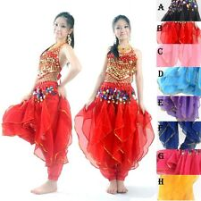 Tribal Belly Dance Costume set  TOP & Gold Wavy Harem Pants Skirt  8 COLORS