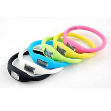 Digital Silicone Rubber Jelly Ion Sports Bracelet Wrist Watch Free Shipping