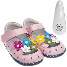 Girls Toddler Leather Soft Sole Baby Shoes Sandals Pink with Flowers & Shoe Horn