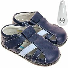 Boys Toddler Leather Soft Sole Baby Shoes Sandals Navy & Light Blue & Shoe Horn