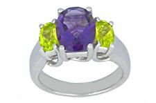 4 Ct Amethyst & Peridot Oval Ring .925 Sterling Silver