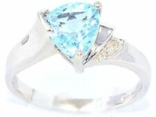 1.5 Ct Blue Topaz & Diamond Trillion Ring .925 Sterling Silver
