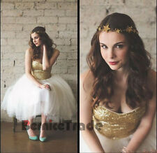 Gold Sequins Formal  Wedding Prom Party Evening Dress Bridesmaid Gown Size 6-16