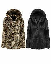 LADIES WOMENS LEOPARD FAUX FUR COAT HOODED PARKA POM POM JACKET WARM WINTER TOP