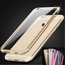Aluminum Metal Bumper Silicone Back Case Cover Shell for iPhone 6 6 Plus 5 5s
